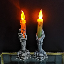 Decoration Light Hand-Candle Halloween-Props Orange/green-Lamp-Base Party Smoke-Free