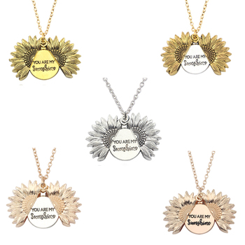 Dropshipping You are my sunshine Open Locket Sunflower Pendant Necklace for Women Men hot Necklace Custom Jewelry image
