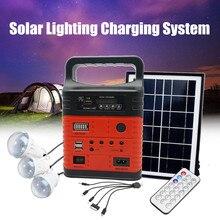 3 светодиодный комплект системы солнечного освещения 7500 мАч usb зарядка бытовой генератор комплект наружный источник питания MP3 радио фонарик аварийный