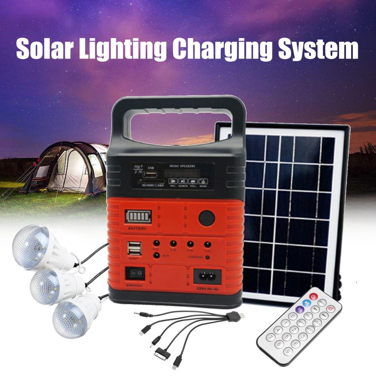 3 LED Solar Beleuchtung System Kit 7500mAH USB Lade Haushalt Generator Kit Outdoor Power Versorgung MP3 Radio Taschenlampe Notfall