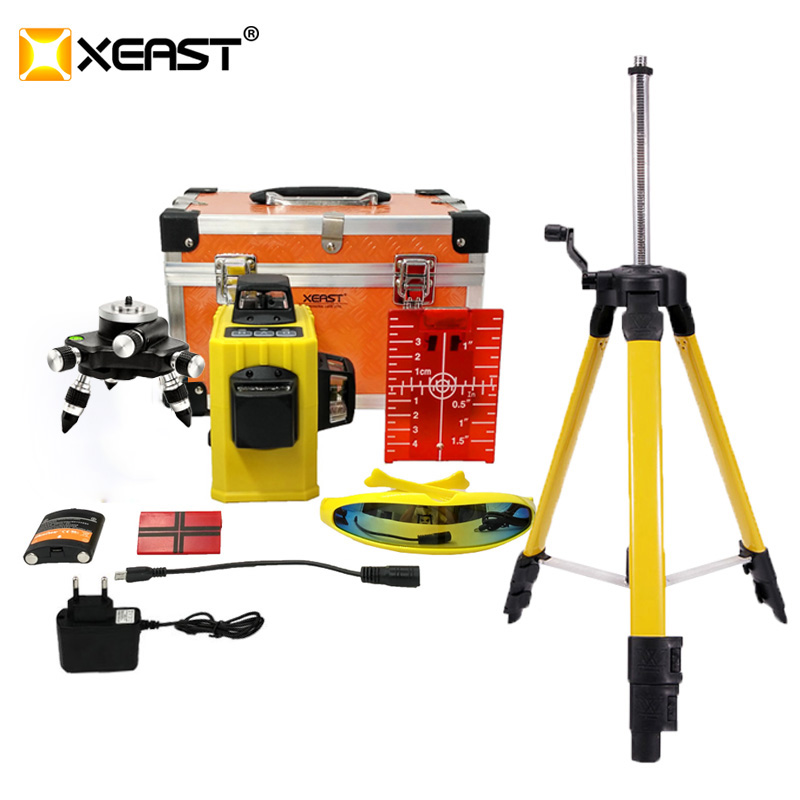 XEAST Laser Level Tripod 3D 12 Lines Self Leveling 360 Horizontal & Vertical Battery Powerful Outdoor Detector Red Line|laser level 360|laser levelline laser level - AliExpress