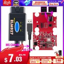2019 Originale ELM327 USB FTDI con interruttore Scanner di codici HS CAN e MS CAN super mini elm327 obd2 v1.5 bluetooth elm 327 wifi
