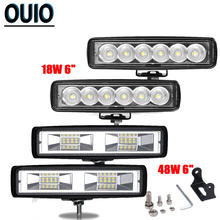 6inch Off Road LED Light Bar 18W 48W Spot Beam Barra Led Offroad 12V 24V Work for 4x4 UAZ ATV SUV Car Accessories