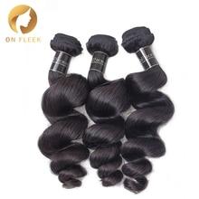 On Fleek бразильские виргинские волосы, свободные волнистые человеческие волосы, пряди, необработанные волнистые волосы для наращивания, натуральный цвет, 3 шт