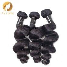 Human-Hair-Bundles Brazilian on Fleek 3PCS Weave-Extension Virgin-Hair Wave Loose Natural-Color