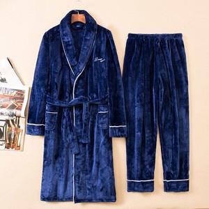 Image 5 - Зимний утепленный пижамный комплект, женский халат, фланелевая одежда для сна, 2 предмета, халат и Пижамный костюм, кимоно для влюбленных, платье, Коралловая Флисовая теплая домашняя одежда