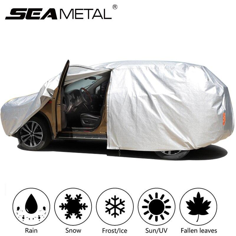 Bâches de voiture imperméables en plein air Anti-UV voiture neige couverture quatre saisons anti-poussière parasol neige couverture Auto bande réfléchissante protecteur