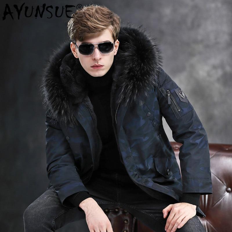 AYUNSUE Winter Jacket Mens Parka Real Fur Coat Men Natural Rabbit Fur Liner Raccoon Fur Collar Hooded Camouflage Parkas 1807