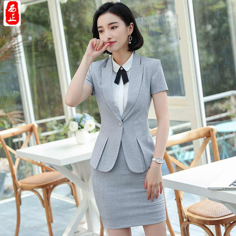 Classic Style Hot Selling Lan Fashion Small Suit Summer Style Hotel Front Desk Work Clothes Short Sleeve Business WOMEN'S Oversk