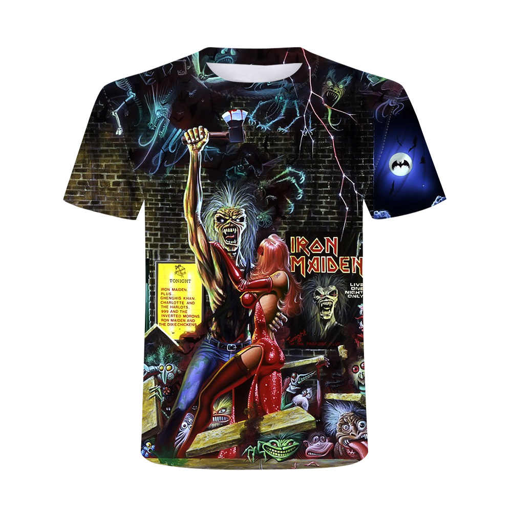 2020新3D重金属スカルtシャツパンクフェスティバルロックtシャツ男性プリントカジュアルtシャツoネックヒップホップ半袖プラスサイズ