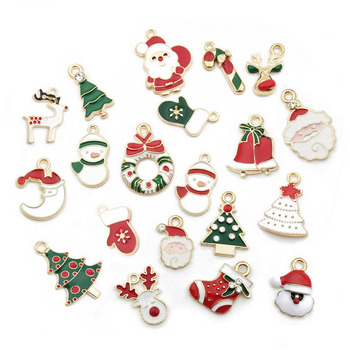 10pcs mixed Christmas new year Merry Charm Christmas pendants Drop Oil pendants jewelry making Needlework Diy christmas jewelry image