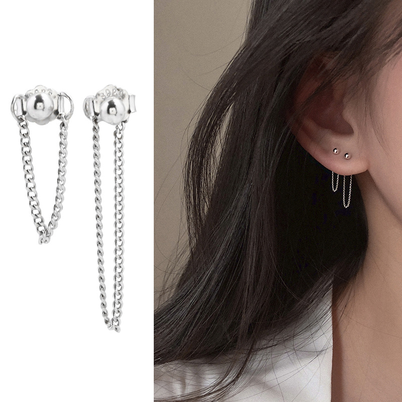 s925 Sterling Silver Chain <font><b>Earrings</b></font> Punk Style <font><b>Earrings</b></font> Ball <font><b>Earrings</b></font> Front Back Post <font><b>Earrings</b></font> <font><b>for</b></font> Women <font><b>Men</b></font> <font><b>Unisex</b></font> image