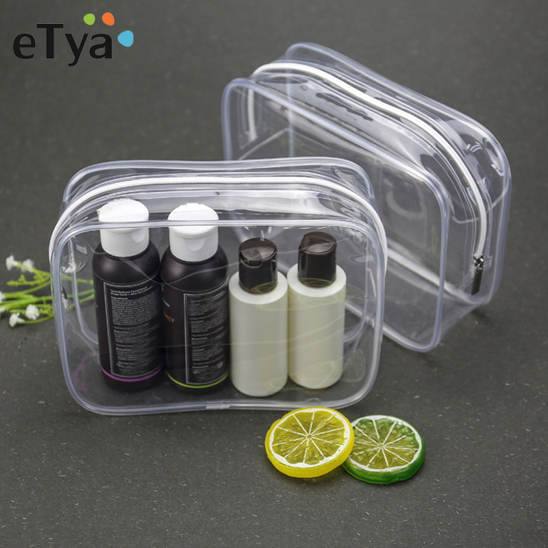 ETya Transparent Cosmetic Bag Travel Organizer PVC Waterproof Clear Makeup Bag Beauty Case Toiletry Bag Make Up Pouch Wash Bags
