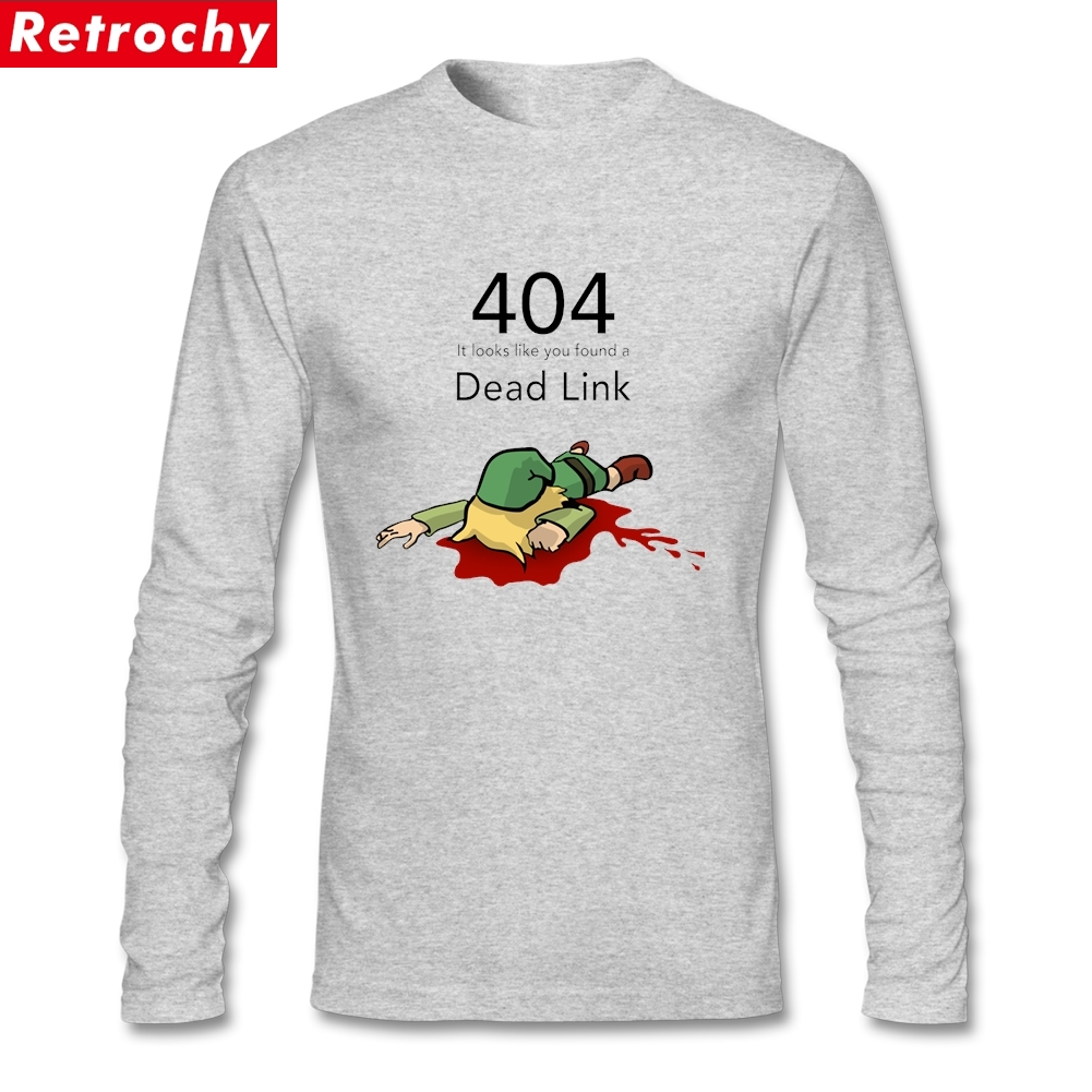 <font><b>Error</b></font> <font><b>404</b></font> Zelda Dead Link T <font><b>Shirt</b></font> Men's Rock Clothing For Youth Long Sleeve Natural Cotton Crew Neck image