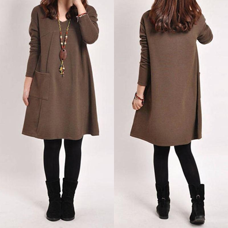 Kaftan Women's Sundress Pullovers ZANZEA 2020 Autumn Solid Hoodies Dress Long Sleeve Vestido Female Robe Oversize Sweatshirt 8