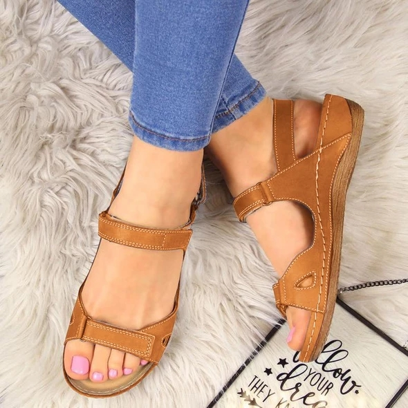 Summer Sandals Shoes Soft-Sole Ankle Round-Toe Comfortable Flat Women Ladies New Hollow title=
