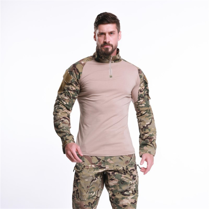 Men Tactical Military Shirt Combat Camouflage Long Sleeve Soldier Army Suit Outdoor Disguise Hunting Airsoft Assault Clothes