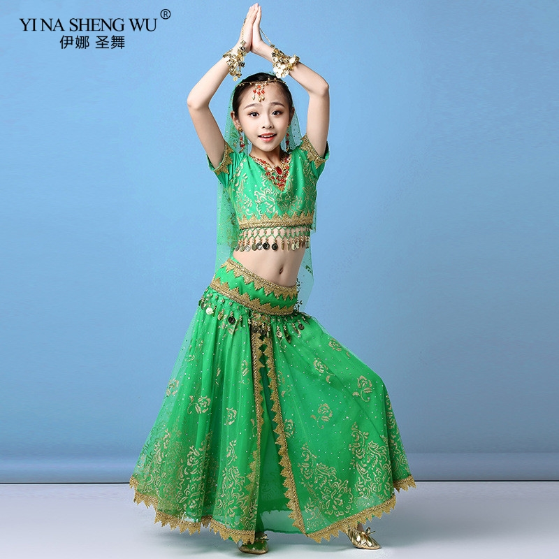 Kids Belly Dance Costumes Set Oriental Dance Cothes Girls Egypt Egyptian Bollywood Indian Belly Dancing Clothing Dress 2/8pcs