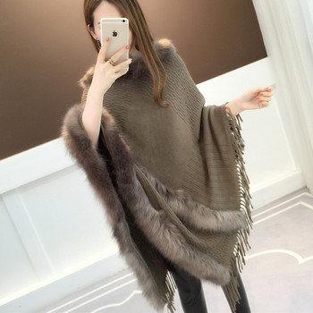 Coat Women's tassel Cape shawl 2020 Autumn and Winter new top loose velvet fashion lazy knitted sweater black chiffon loose bat sleeves cape shawl top