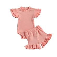 Noworodki dziewczęce jednokolorowe prążkowane ubrania zestaw, krótka, koronkowa koszulka Romper Top i krótka, koronkowa koronkowe brzegi spodnie 2 szt. Garnitury