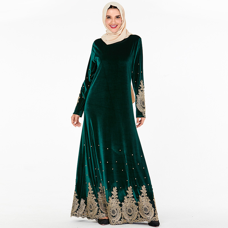 Siskakia Muslim Evening Dresses Paisle Embroidered Beads Velvet Long Dress Plus Size Arabian Dubai Morocco Clothes