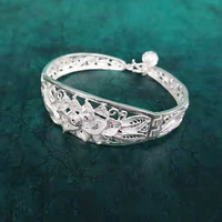 Bastiee Lotus Flower 999 Sterling Silver Bangles For Women Hollow Out Cuff Bracelet Vintage Miao Silver Handmade Bangle Ethnic