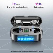 Беспроводные наушники Bluetooth V5.0 F9 TWS, беспроводные Bluetooth наушники, светодиодный дисплей, 2000 мАч, внешний аккумулятор, гарнитура с микрофоном