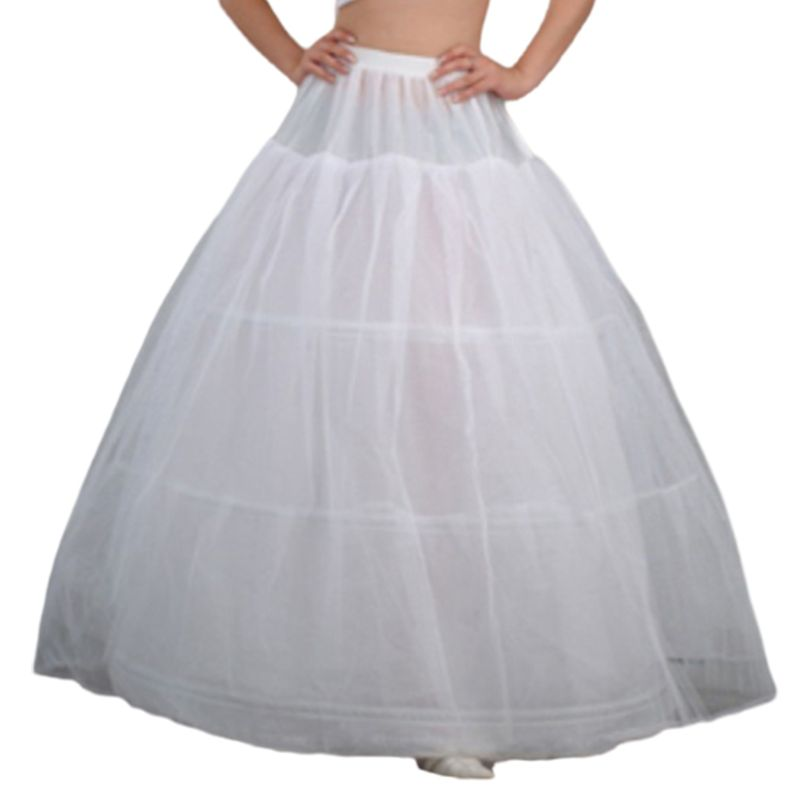 Womens Bridal 3 Hoops Maxi-Length Petticoat Drawstring Waistband Multi-Layer Ball Gown Wedding Dress Bustle Crinoline Underskirt