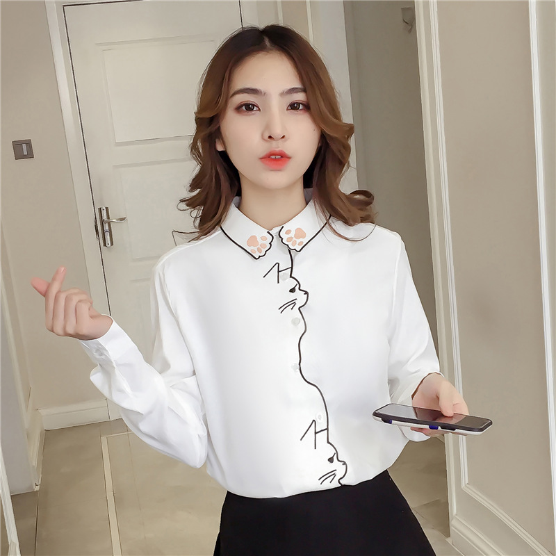 Autumn Women Blouses Shirt Embroidery Pattern White Shirt Female Women Tops Long Sleeve Office Girl Shirt Female Blusa 660H60