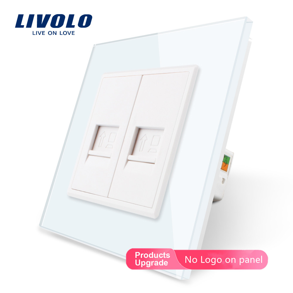 Livolo Manufacture Crystal Glass Panel, Computer Socket,Tel Plugs,Satv,audio,TV Wall Outlet Plug Socket No Logo,DIY
