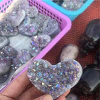 1 pièces améthyste géode en forme de coeur cristal de guérison cristaux pierres titane arc-en-ciel Aura améthyste Cluster ange Aura Quartz