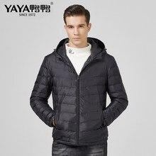 YAYA moda Otoño Invierno hombres abajo chaqueta ultraligera hombres rompevientos pluma chaqueta masculino ligero portátil caliente