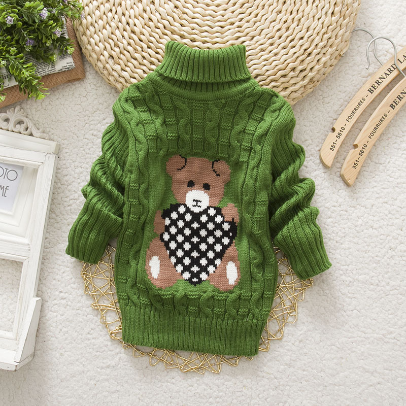 Baby Girl Boy New Sweaters Autumn Winter Children Cartoon Jumper Knitted Pullover Turtleneck Warm Outerwear Kid Casual Clothing 3