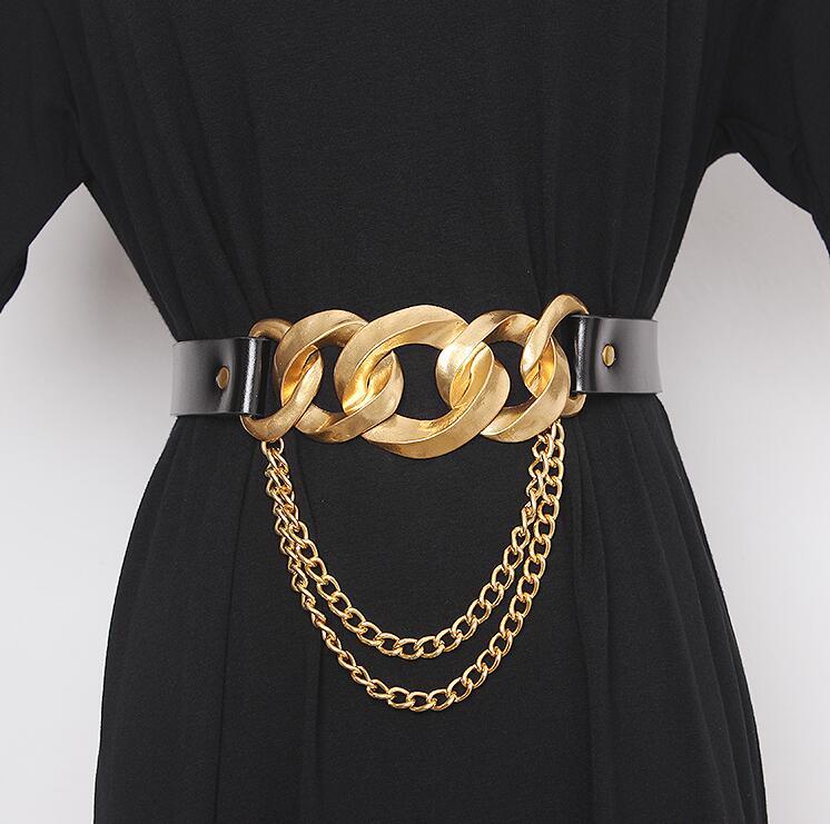 Women's Runway Fashion Genuine Leather Metal Buckle Cummerbunds Female Dress Corsets Waistband Belts Decoration Wide Belt R2930