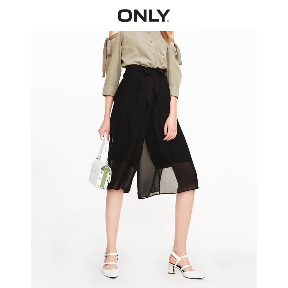 ONLY Loose Fit Lace-up Slit Wide-leg Capri Chiffon Pants | 11926J503