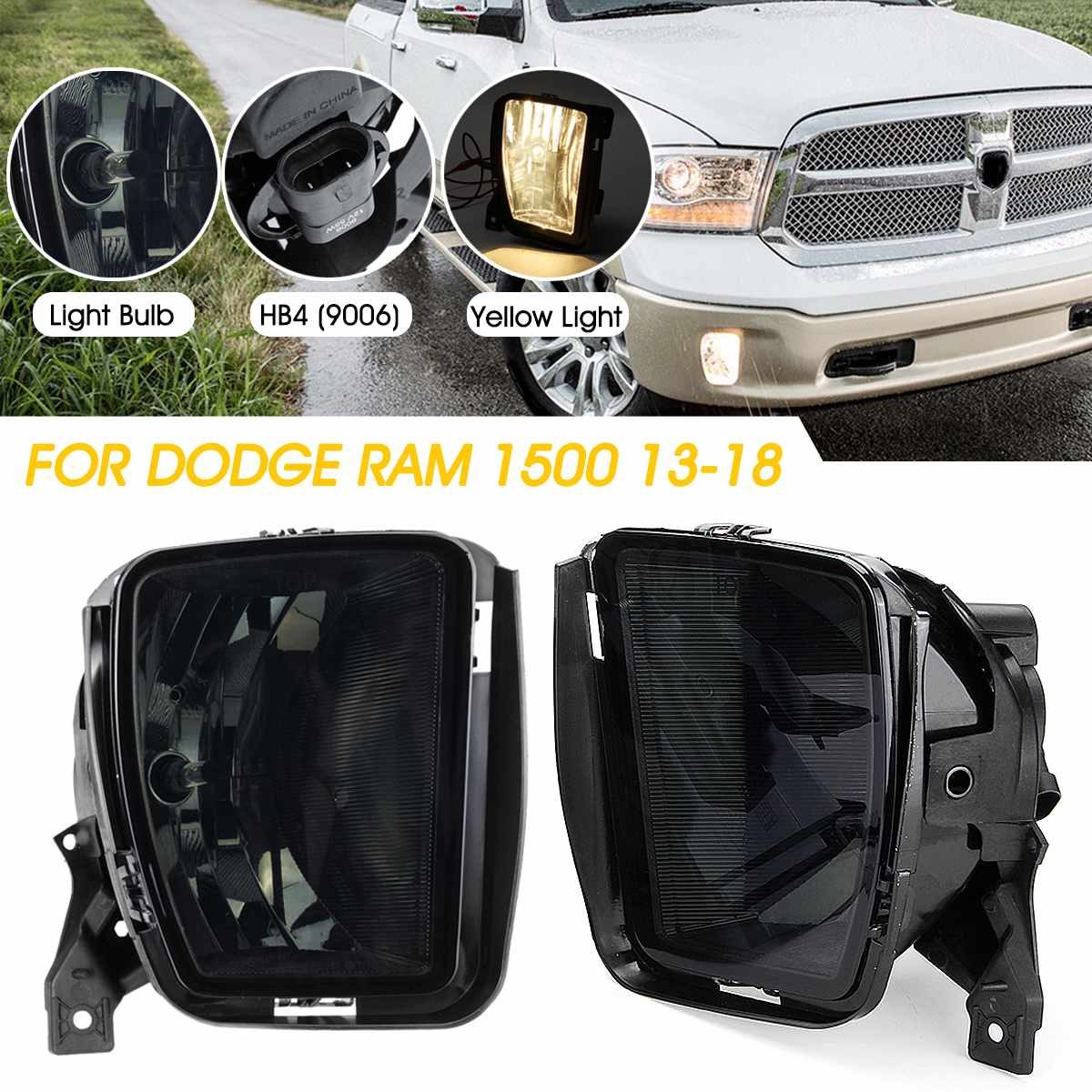 2PCS Car Front Bumper Fog Halogen Lights Fog Light With Bulbs For Dodge RAM 1500 2013 2014 2015 2016 2017 2018