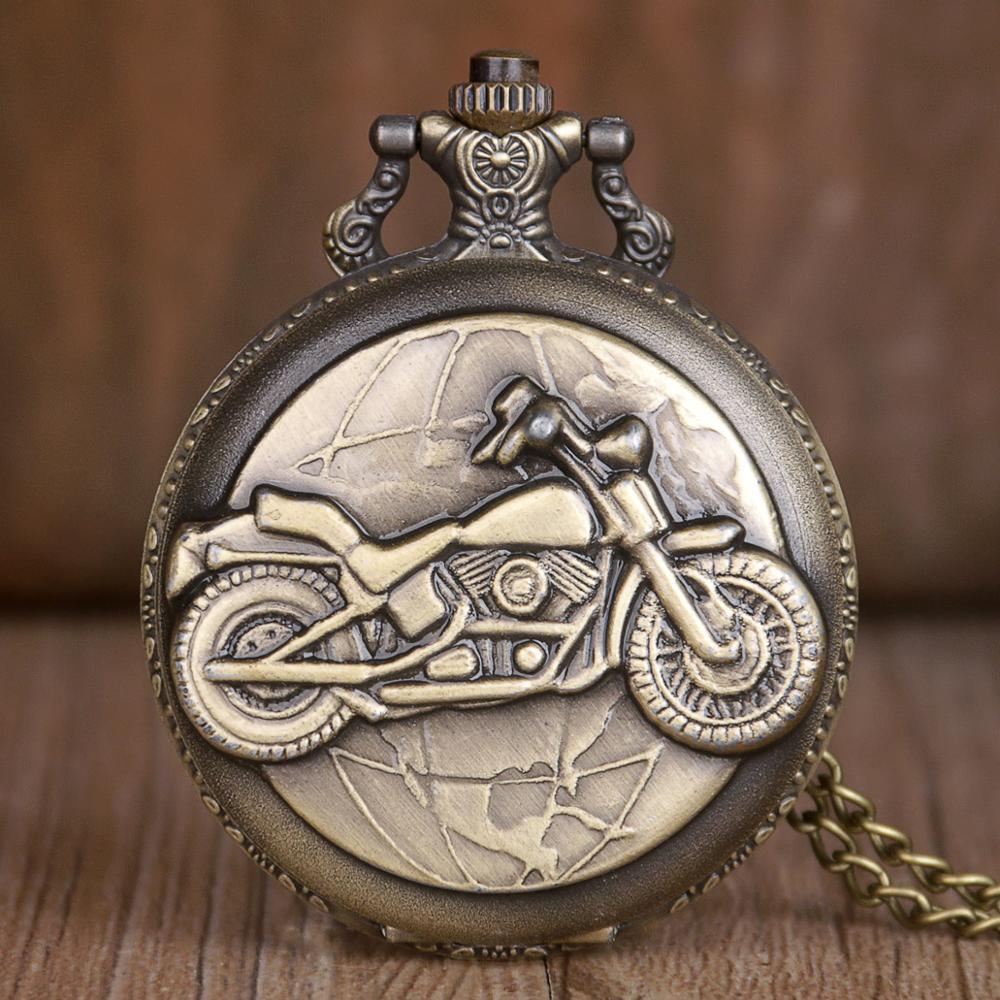 Steampunk Motorcycle Display Bronze Quartz Pocket Watches Retro Fob Watch Chain For Men Women