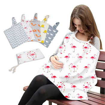 Colorful Cute Animal Pattern Cotton Breastfeeding Cover Trendy Scarf Breathable Nursing Covers Baby Carseat