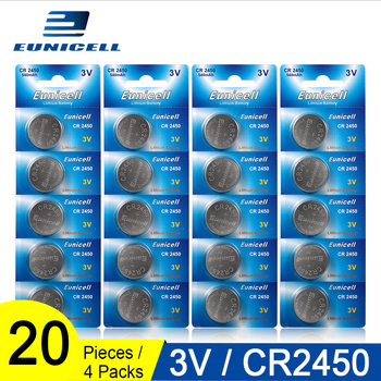 20pcs=4 Cards Eunicell 350mAh CR2450 CR 2450 ECR2450 KCR2450 5029LC LM2450 button cell coin battery 3V lithium watch Batteries