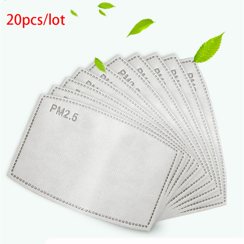 20pcs/set Adult Children Mask Filter Paper PM2.5 Anti Haze Anti Dust Mouth Mask Filter For All Mask