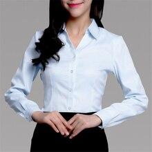 Women Shirts Elegant V-Neck Korean Fashion Woman White Shirt Lady Stripe Plus Size Blusas Mujer De Moda 2019