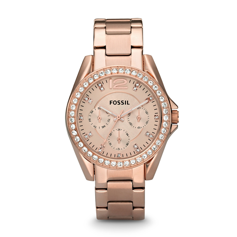Fossil Watch Women Riley Multifunction Rose-Tone Stainless Steel Watch Luxury Quartz Wrist Watches for Ladies ES2811