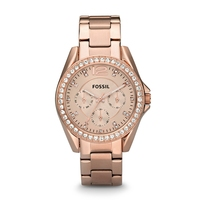 Fossil Watch Women Riley Multifunction Rose Tone Stainless Steel Watch Luxury Quartz Wrist Watches for Ladies ES2811