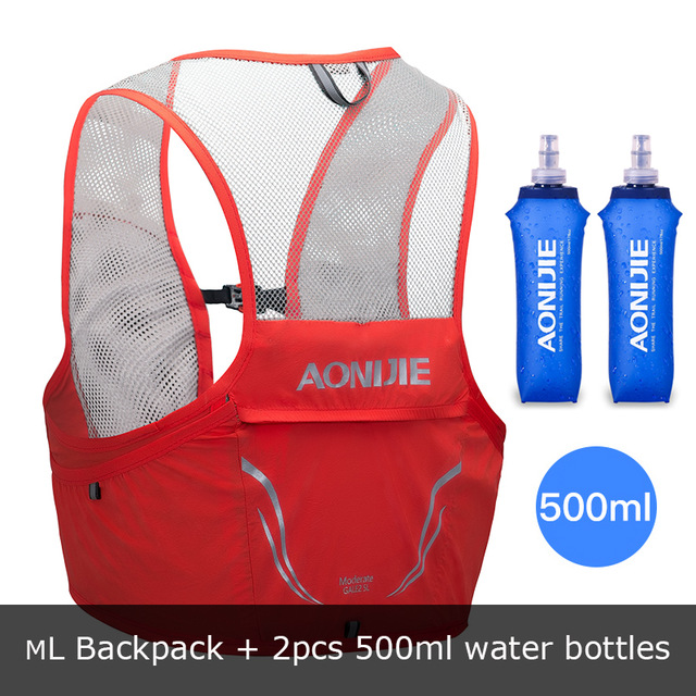 Trail Running Vest Backpack 2.5L Ultra Running Hydration Vest Pack Marathon Running Rucksack Bag 500ml Soft Flask