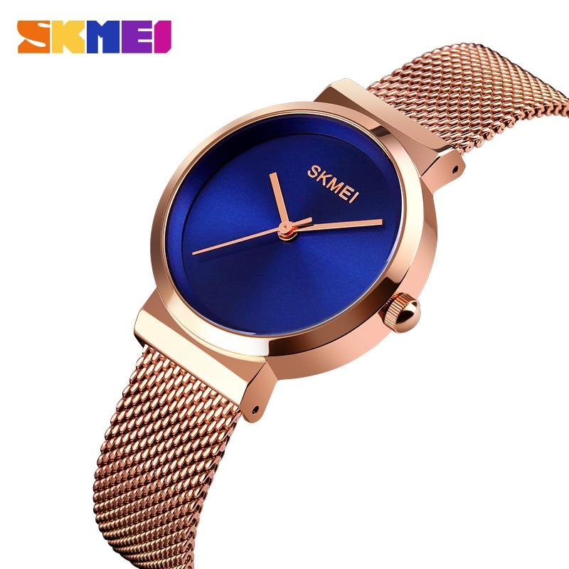 SKMEI Elegant Quartz Women Watch Fashion Waterproof Wristwatches Ladies Stainless Stell Strap Women Hour Clock Reloj Mujer 1595