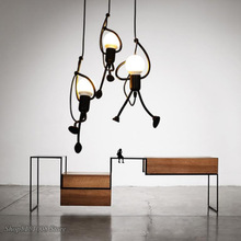 Luces colgantes creativas para hombre pequeño, lámpara colgante de escalada para habitación de niños, lámpara colgante de cuerda de Metal, lámparas colgantes, decoración artística