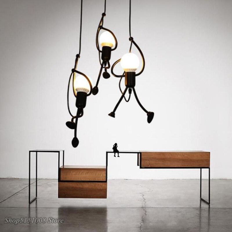 Kreative Wenig Mann Anhänger Lichter Klettern Anhänger Lampe für Kinder Zimmer Hängen Lampe Metall Schnur Anhänger Lampen Kunst Dekoration