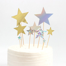 7pcs/lot Birthday Cake Topper Glitter Gold Star Flag Kids Baby Shower Baking Decoration For Wedding Party Supplies