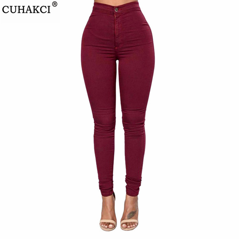 CUHAKCI Skinny Jeans Woman High Waist Winter Denim Wash Plus Push Up Trousers Bodycon White Green Blue Black Pencil Pants Female