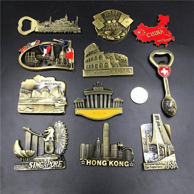 الولايات المتحدة الأمريكية الذهبي بوابة جسر برلين سويسرا سنغافورة أستراليا سيدني إيطاليا روما باريس لاس فيغاس الصين خريطة مغناطيس تذكاري الثلاجة